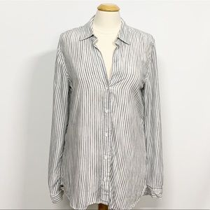 Bella Dahl | White Striped Long Sleeve Button Down